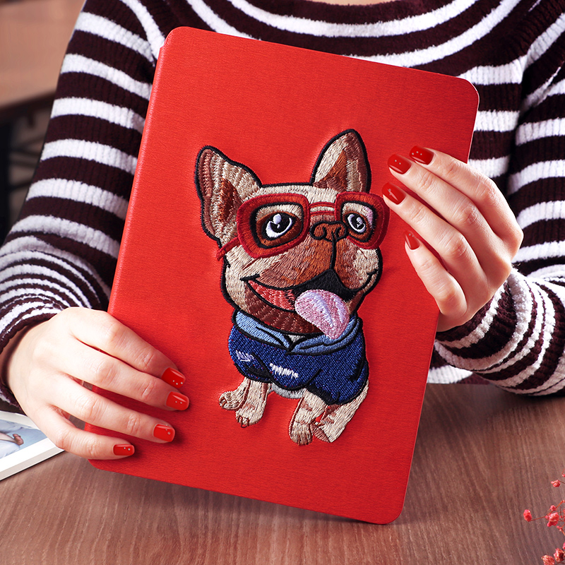 2018 KAKU girls hot item custom book style embroidery leather cartoon case for tablet ipad 2 air mini