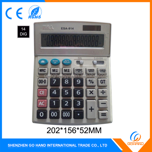 Wholesale 14 Digit Solar Electronic High Quality Desktop Calculator With Led Light