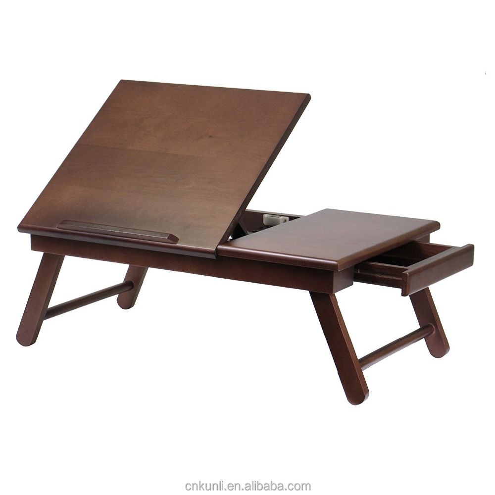 high quality Wooden Laptop Desk Flip Top with Drawer and Foldable Legs