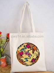 eco recyclable natural color cotton canvas shopping bag