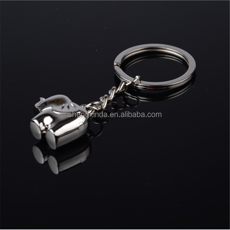 manufacturer supplier cute elephent custom metal key chain keyring parts