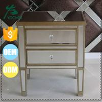 Mirro Sheet 2-Drawer Wood Bedside Table