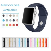 2016 promotion for silicon apple watch band rubber sport band,sport soft 1:1 rubber band strap for apple watch