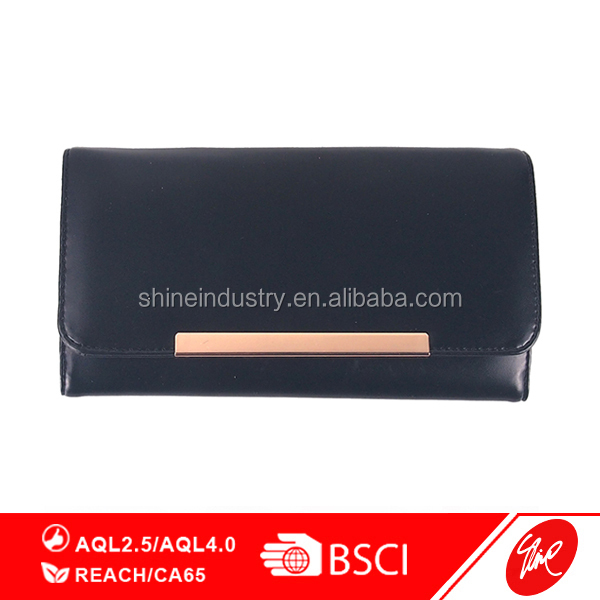 Solid Black PU Trifold Women Wallet