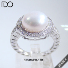 Cheap Pearl Wedding Ring 925 Sterling Silver Bridal Costume Pearl Jewelry