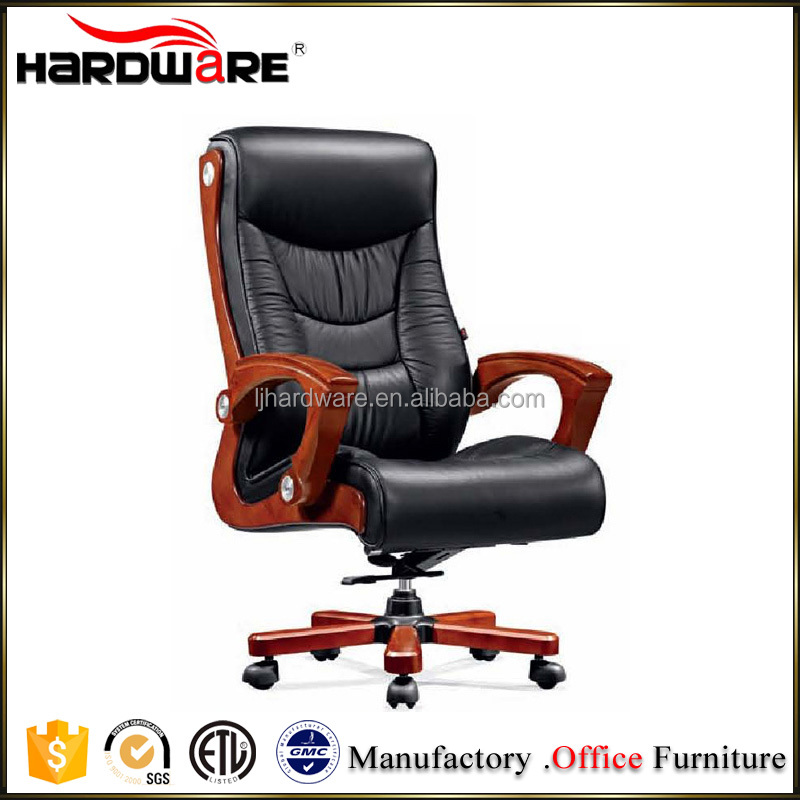 Brown Genuine Leather Wooden frame High Back Swivel Antique Office Chair