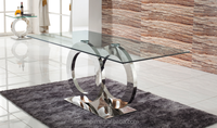 Stainless steel Moden dining table , glass dining table , dining room tables