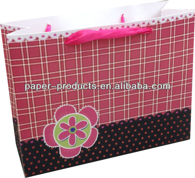 Pink Lattice Gift Packing Boutique Paper Bags Wholesale In USA