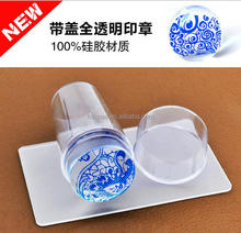 OEM clear soft jelly stamper with cap and credit card shape scraper for nail art stamping