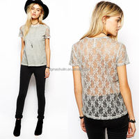Woman T-shirts Lace Back Apparel Manufacturering Made In China