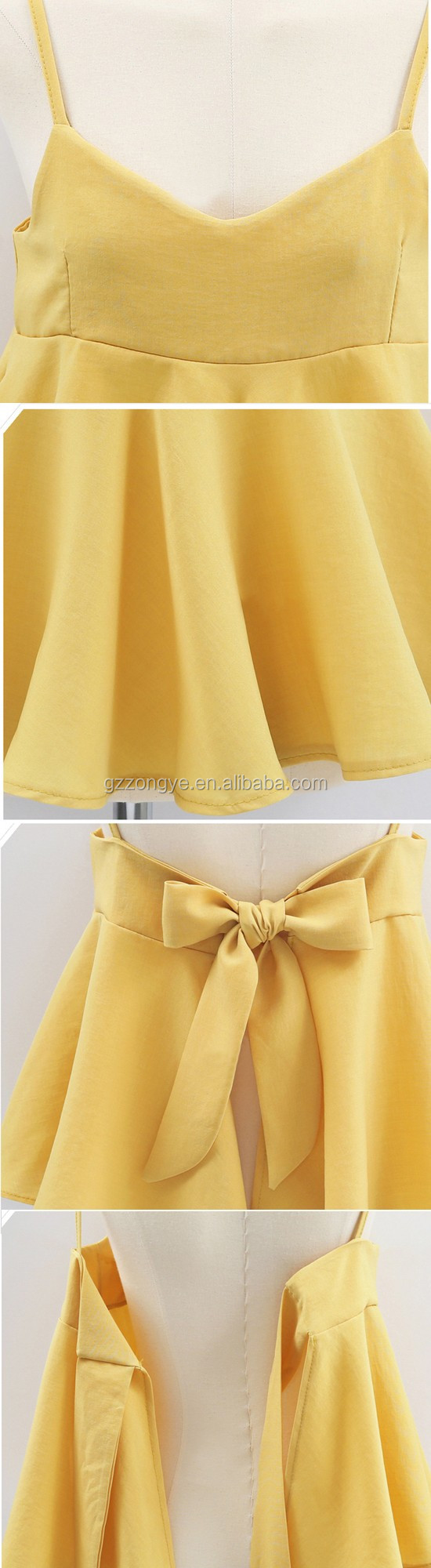 colorful latest design shoulder-straps whosale bowknot whosale summer women blouse