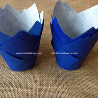 FDA Europe paper blue muffin cups , tulip baking cups, cupcake liners