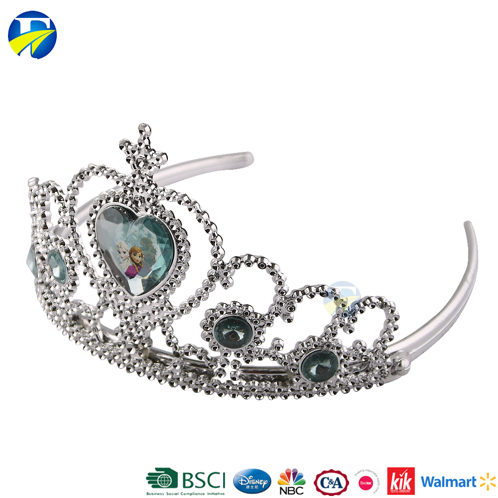 F J brand wholesale kids gift set silver hair accessories plastic princess tiaras crowns
