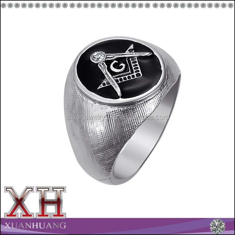 Traditional Masonic Black Onxy Oval Shape Men's Silver Ring