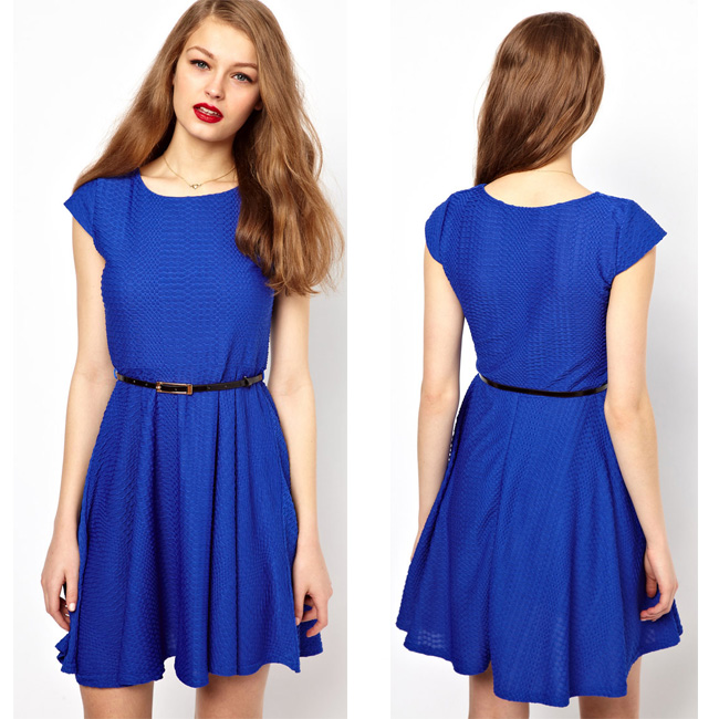 2014 new design blue short sleeve polyester spandex ladies office wear dress dresses made in China OEM