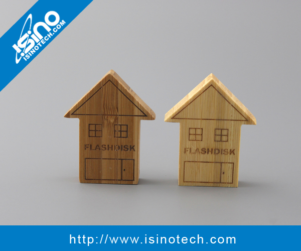 House Shaped Wooden / Bamboo USB Stick as Giveaway / Promotional Gift