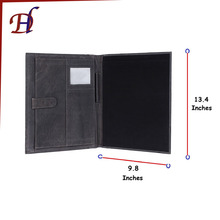 Customized Handmade A4 Conference Organiser Manufacture Genuine Leather Portfolio File Folder