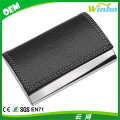 Metal Business Card Case with Faux Leather Cover