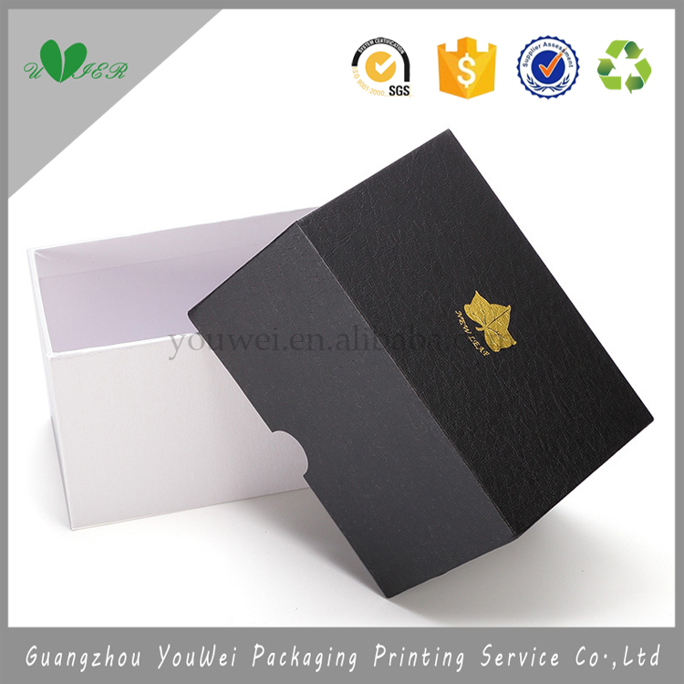 guangzhou gold hot stamping custom watch box/wholesale logo printed gift promotion cardboard base and cover package box
