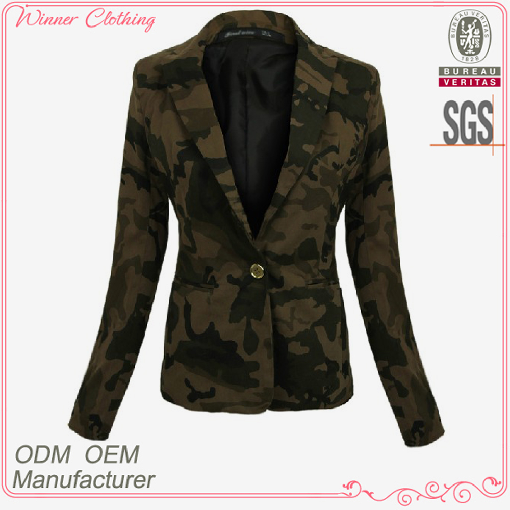 Top Fashion Comfortable Fitted Printed Cool Camo Cotton Casual Jacket