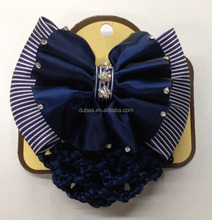 Lady Rhinestones Bow Bowknot with Nylon Elastic Mesh Hair Bun Cover Snood Dance Crochet HairNet Stunning Centrepiece