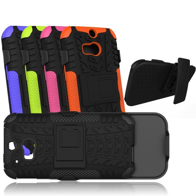 Cell phone hybrid pc + silicon combo holster for htc one m8 case