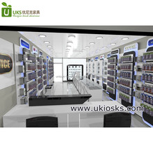 Modern cell phone repair express store design and mobile phone cases display wall racks wholesale