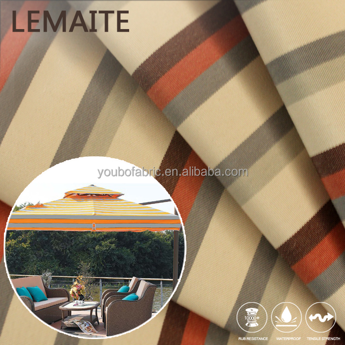 100% Polyster Fabric with Stripe PU Coated Polyester Water Repellent Fabric
