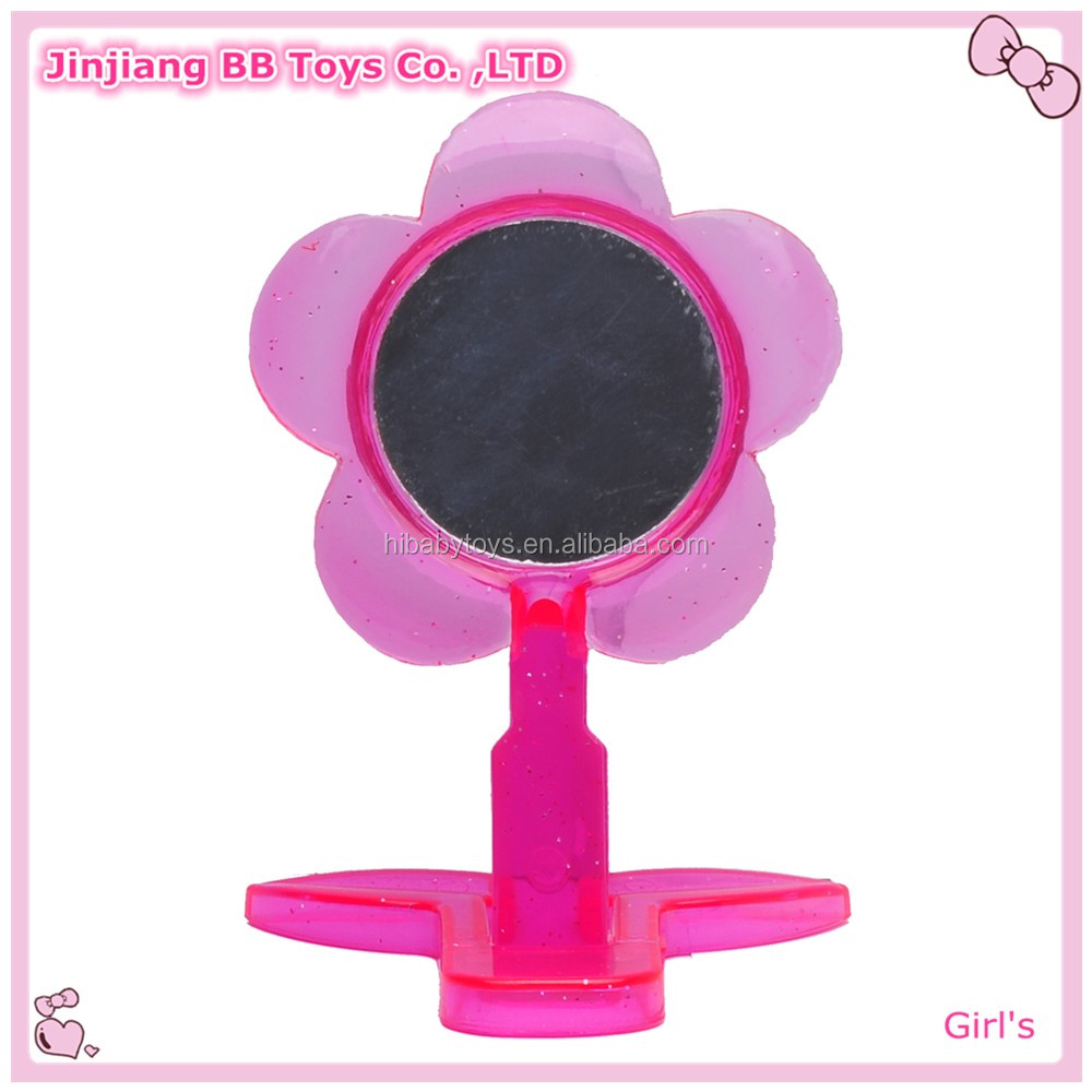 Plastic frame princess hand mirror with handle makeup mirror toy