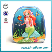 "12"" High quality little mermaid cartoon character school bags for girls"