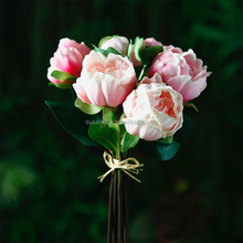 China wholesale cheap custom printed PU fake plastic preserved artificial peony flower bouquet for gift decorative