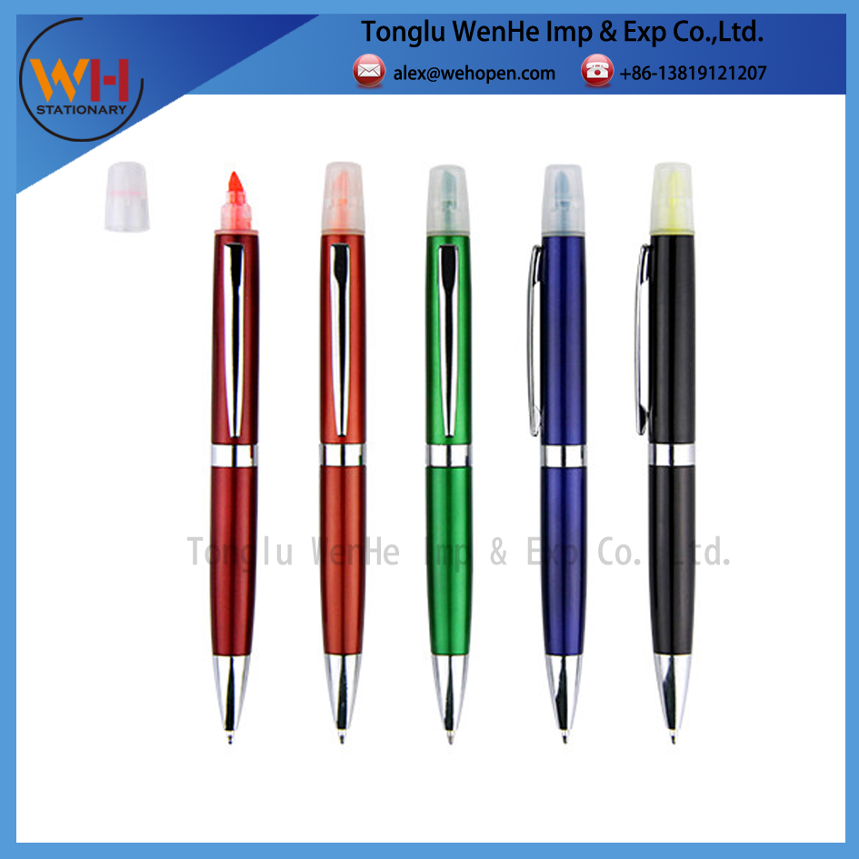 office supply low price plastic ball pen with highlighter for customer