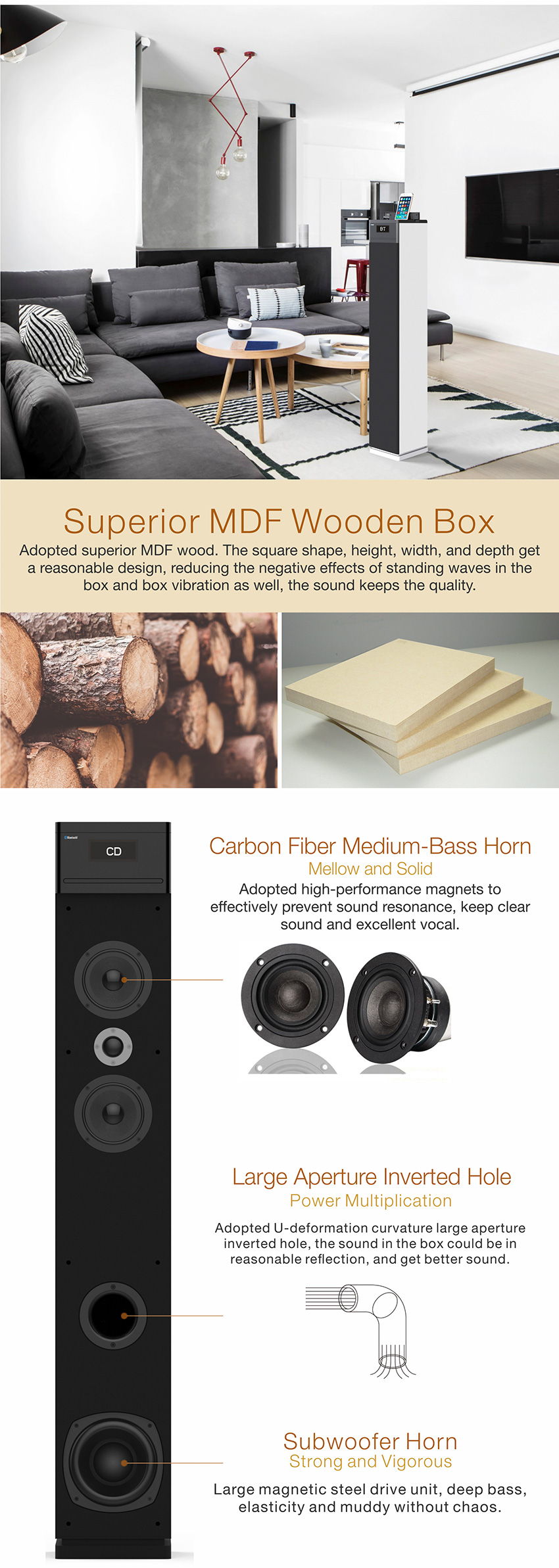 OM-6002CD Wholesale High Sound Quality Wooden CD Speaker for TV