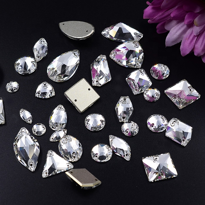 Assorted shapes sizes clear crystal sew on rhinestones for bridal dress