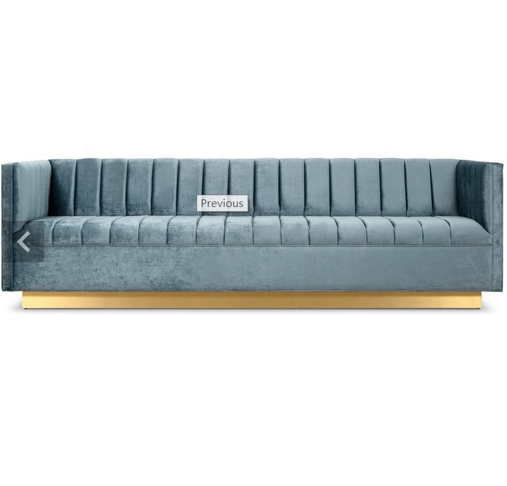 America modern Wide Channel Tufting Wedgewood velvet and brass toe kick Manhattan Sofa