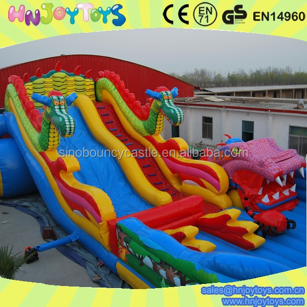 Inflatable slide with airplane bounce house trampolines for parks