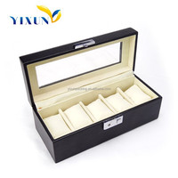 custom handmade luxuy pu leather watch box case with flocking pillow