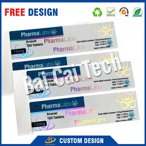 Newly private free design self-adhesive 10ml testosteron enanthate hologram vial label