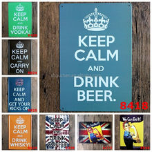 Hot Sale Retro Keep Calm and drinking Tin Signs vintage Metal Sign Painting Decor Wall Of Bar Cafe Pub Shop Restaurant