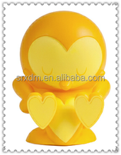 customized lucky yellow heart shape bird vinyl toys,oem art bird figure vinyl toys,China factory oem vinyl toys