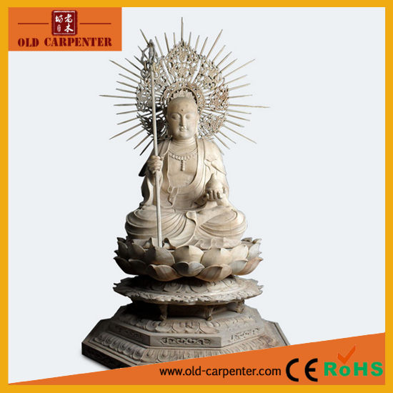 Wooden decoration and wooden carving in antique painting wood Buddha