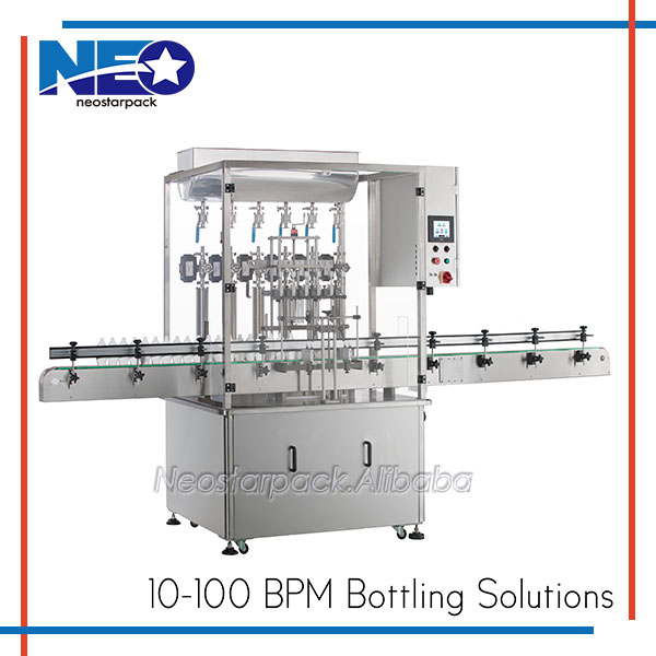 Neostarpack Automatic Piston pump high viscosity Liquid Filler/Filling machine with Safety Cover. Filling range: 50~4000 ml