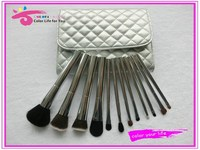 Delux beauty brush 12pcs metal makeup cosmetic brush set in premium bag