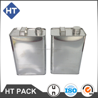 1 gallon square can with screw lid, empty square tin can in F-style shape