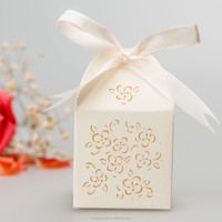 laser cut wedding favor gift box with flowers
