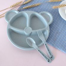 Wheat straw healthy cartoon children baby table <strong>plate</strong> students tableware set 3 pcs dinner <strong>plate</strong>