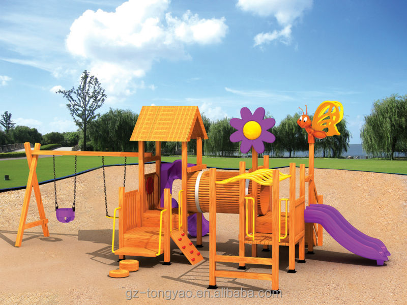 combine swing and slide wooden outdoor playground for kids