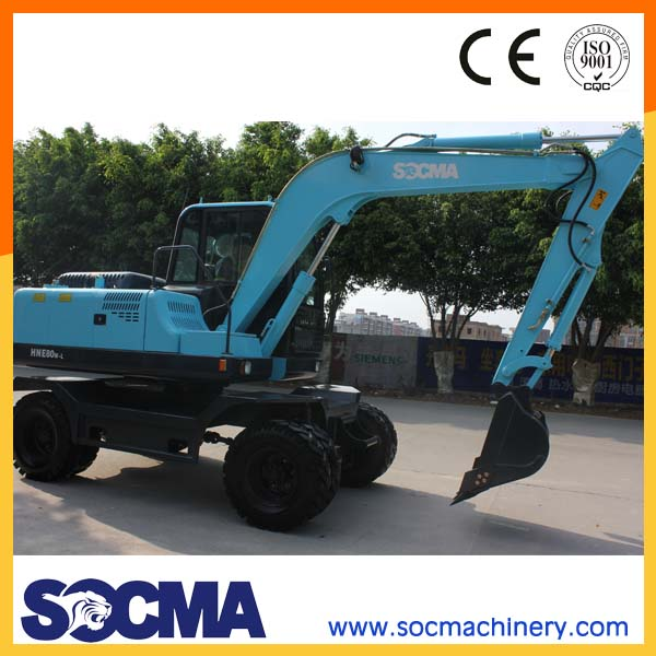 SOCMA 8t wheel excavator earth moving machine with diesel engine