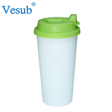 Factory Promotional 450ml Light Blue Clear Melamine Plastic Double Wall Coffee Mug With Lid for Sublimation Wholesale