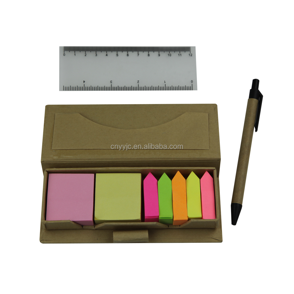 Sticky note pad with recycled ball pen
